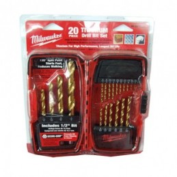 "Brocas De Titanio 1/16"" - 1/2"" Zanco Triangular 20 Piezas Milwaukee 48891105 AMIL48891105 MILWAUKEE ACCESORIOS"