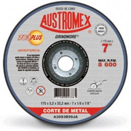 "Disco Abrasivo Para Corte Metal 7"" X 3/32"" X 7/8"" Austromex 783 AUS783 AUSTROMEX"