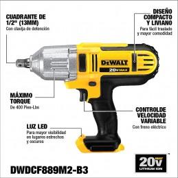 """Llave De Impacto 1/2"""" 20 Volts Max Dewalt DWDCF889M2-B3 DWDCF889M2-B3 DEWALT"""