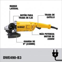 "Esmeriladora Angular 9"" 2,200 Watts Dewalt DWE490-B3 DWE490-B3 DEWALT"