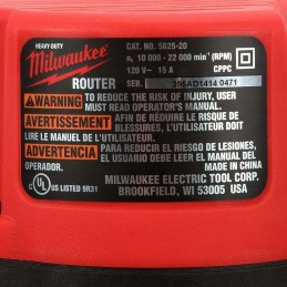 "Router 3-1/2"" Hp 10,000-22,000 Rpm 15 Amp Milwaukee 5625-20 MIL5625-20 MILWAUKEE"