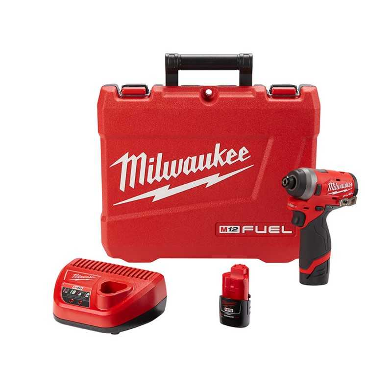 "Llave De Impacto Hexagonal De 1/4"" Compacta M12 Fuel Kit MIL2553-22 MILWAUKEE"