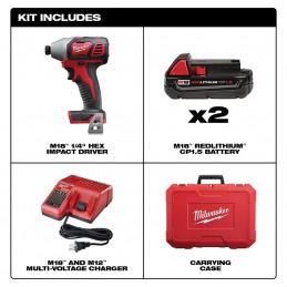 """Kit de Atornillador de impacto hexagonal M18 ™ de 1/4 """" MILWAUKEE 2656-22CT MIL2656-22CT"""