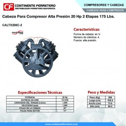 Cabeza Para Compresor Alta Presion 20 Hp 2 Etapas 175 Libras California Machinery CALTX200C-2 CALTX200C-2 CALIFORNIA AIR