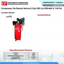 Compresor De Banda Vertical 3 Hp 230 Litros 220-440 Volts 116 Psi California Machinery CALEBY0.48/230V CALEBY0.48/230V CALIFO...