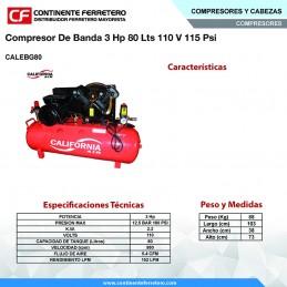 Compresor De Banda 3 Hp 80 Litros 110 Volts 115 Psi California Machinery CALEBG80 CALEBG80 CALIFORNIA AIR