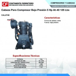 Cabeza Para Compresor Baja Presion 5 Hp 125 Libras California Machinery CALAT40 CALAT40 CALIFORNIA AIR
