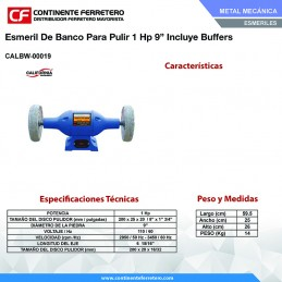 "Esmeril De Banco 1 Hp Para Pulir 9"" Incluye Buffer California Machinery CALBW-00019 CALBW-00019 CALIFORNIA MACHINERY"