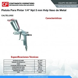 "Pistola Para Pintar 1/4"" Npt 5 Mm Hvlp Vaso Metalico California Machinery CALTELUX02 CALTELUX02 CALIFORNIA AIR"