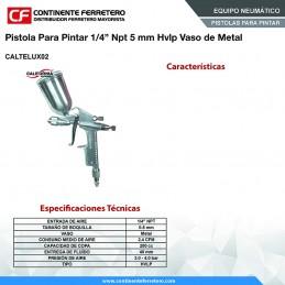 """Pistola Para Pintar 1/4"""" Npt 5 Mm Hvlp Vaso Metalico California Machinery CALTELUX02 CALTELUX02 CALIFORNIA AIR"""