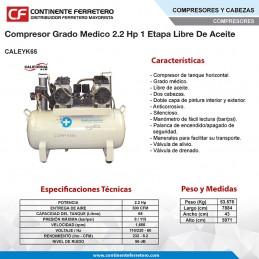 Compresor Grado Medico 2.2 Hp 1 Etapa Libre De Aceite California Machinery CALEYK65 CALEYK65 CALIFORNIA AIR