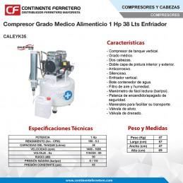 Compresor Grado Medico 1Hp 38 Lts CALEYK35 CALIFORNIA AIR