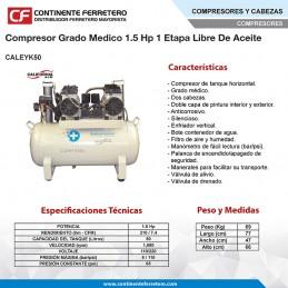 Compresor Grado Medico Libre De Aceite 1.6 Hp California Air CALEYK50 CALIFORNIA AIR