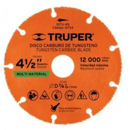 """Disco De Carburo De Tungsteno 4-1/2"""" Truper Trup-12134 TRUP-12134 TRUPER"""